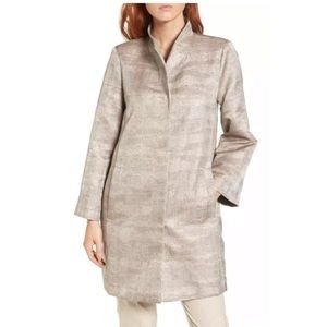 NWT Eileen Fisher Funnel Neck Silk Jacquard Jacket